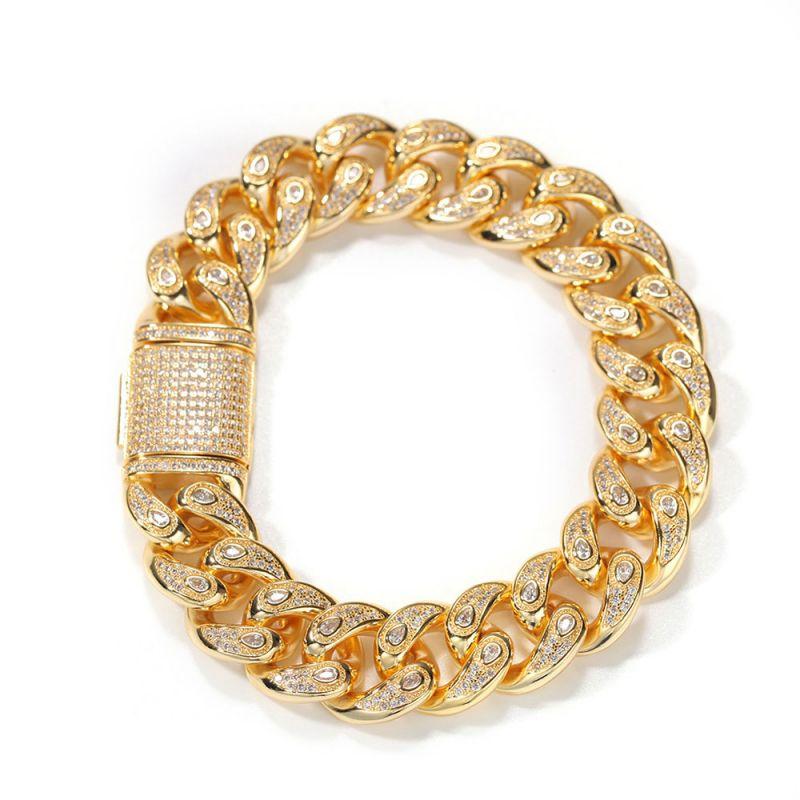 Unique 15mm Drip-shaped Stones Cuban Bracelet in Gold