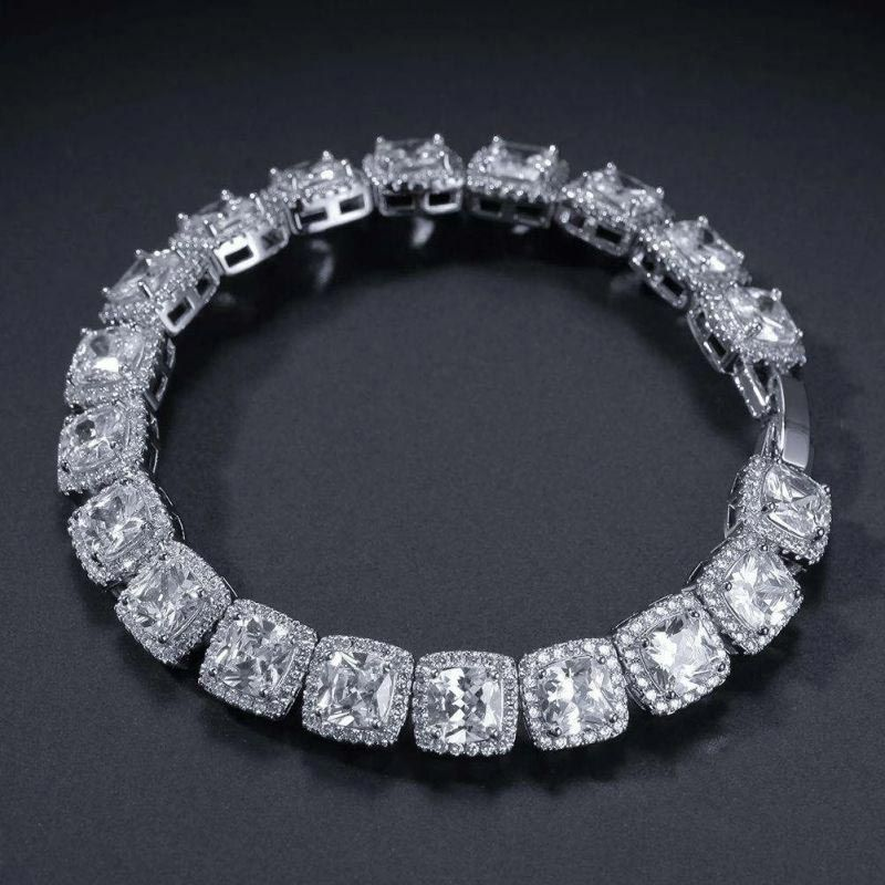 10mm 18K White Gold Finish Iced Baguette Bracelet