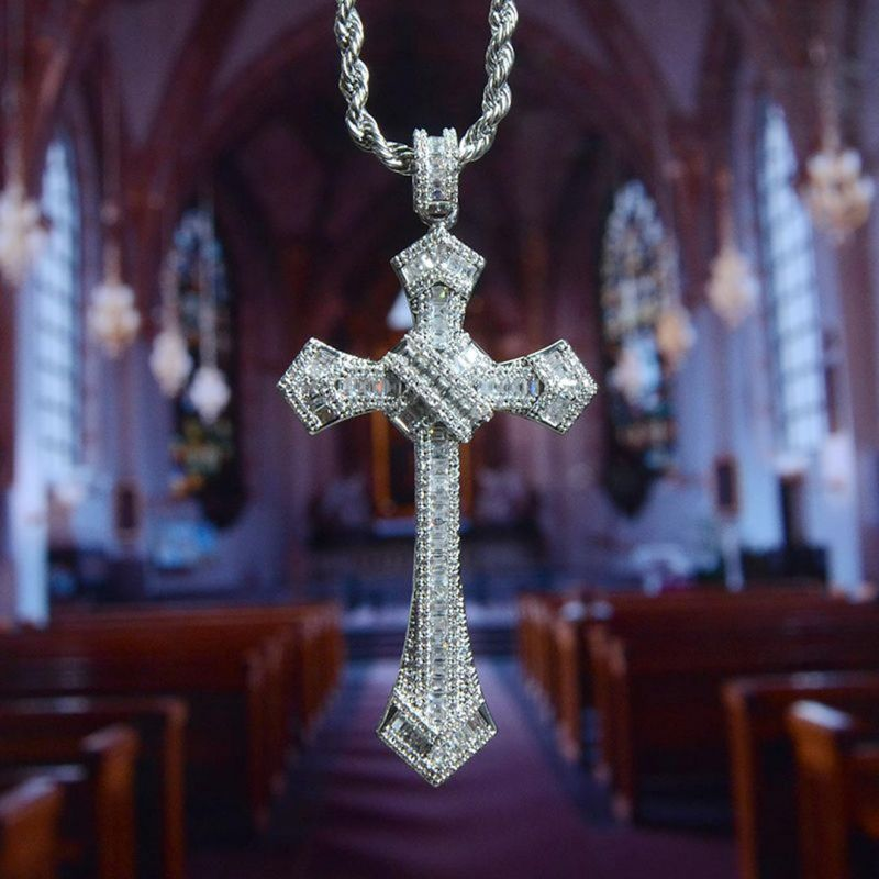 Iced Baguette Diamond Cross Pendant