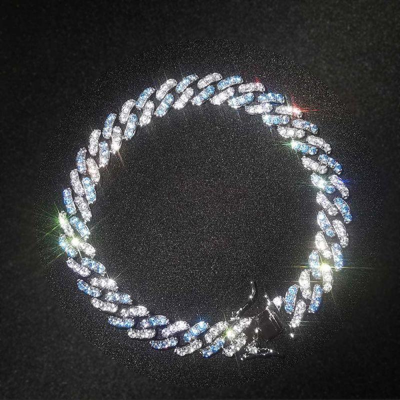 8mm Blue&White Iced Cuban Bracelet
