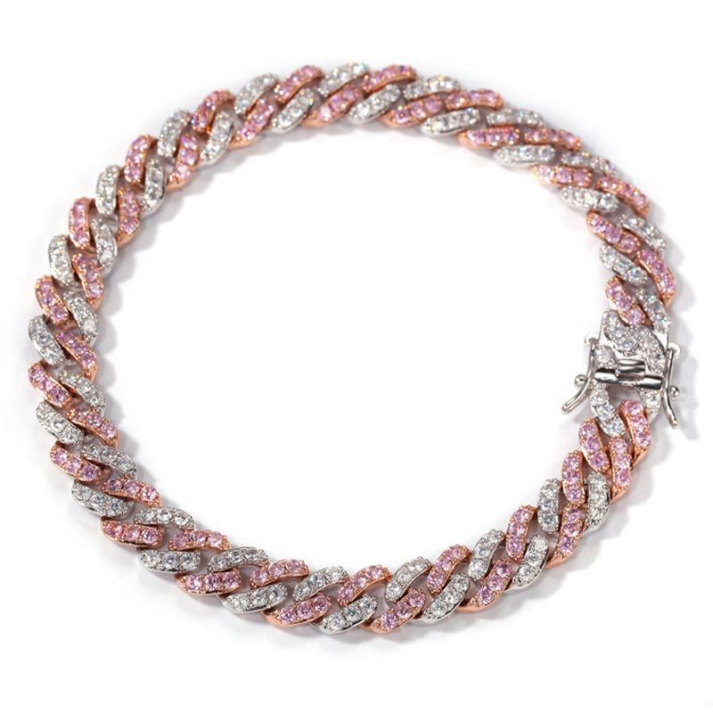8mm White&Pink Two Tone Cuban Bracelet