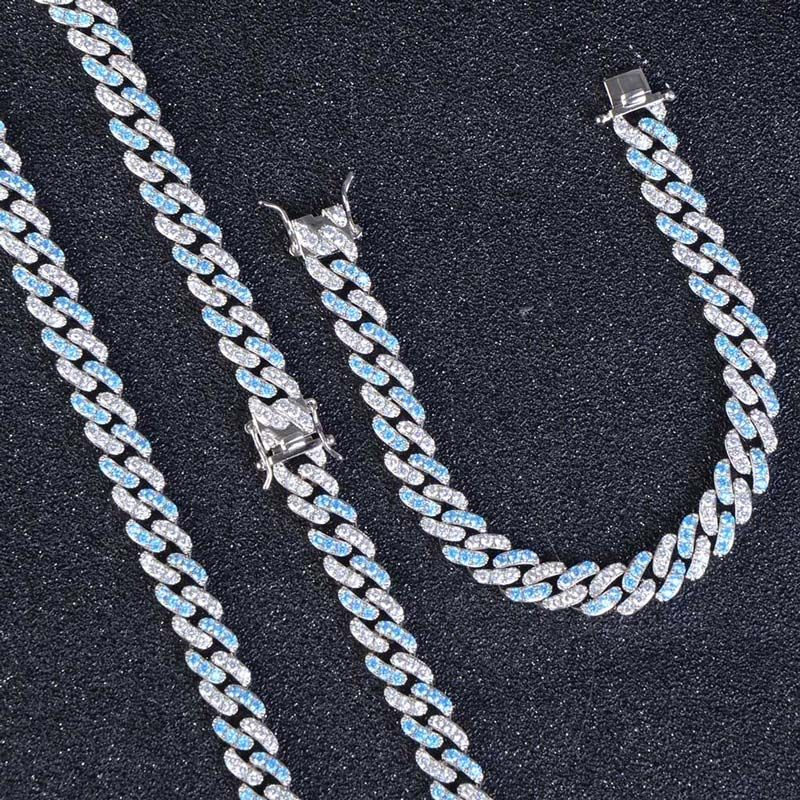 8mm Blue&White Iced Cuban Chain Set in White Gold