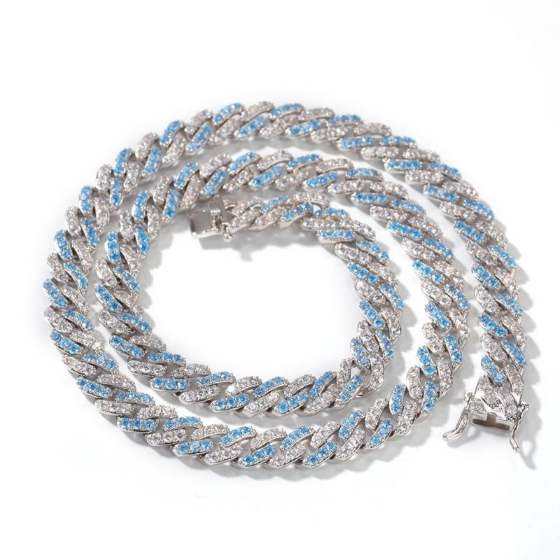 8mm Blue&White Iced Cuban Link Chain in White Gold