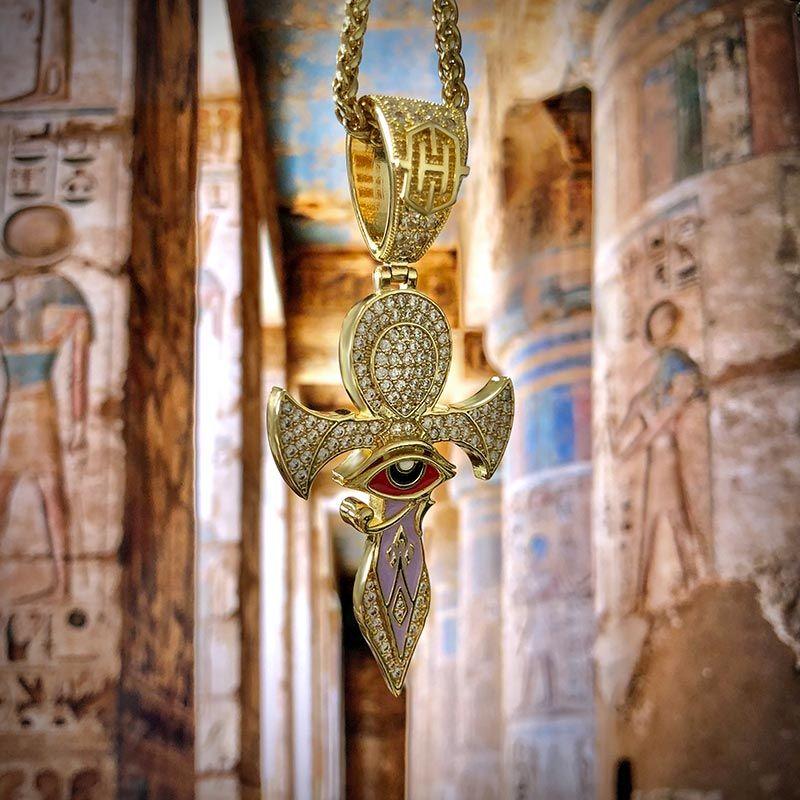 Gold Eye of Horus Ankh Cross Pendant