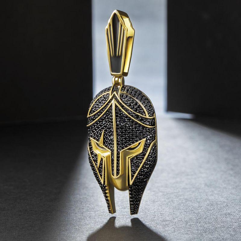 Iced Warrior Helmet Pendant in Gold