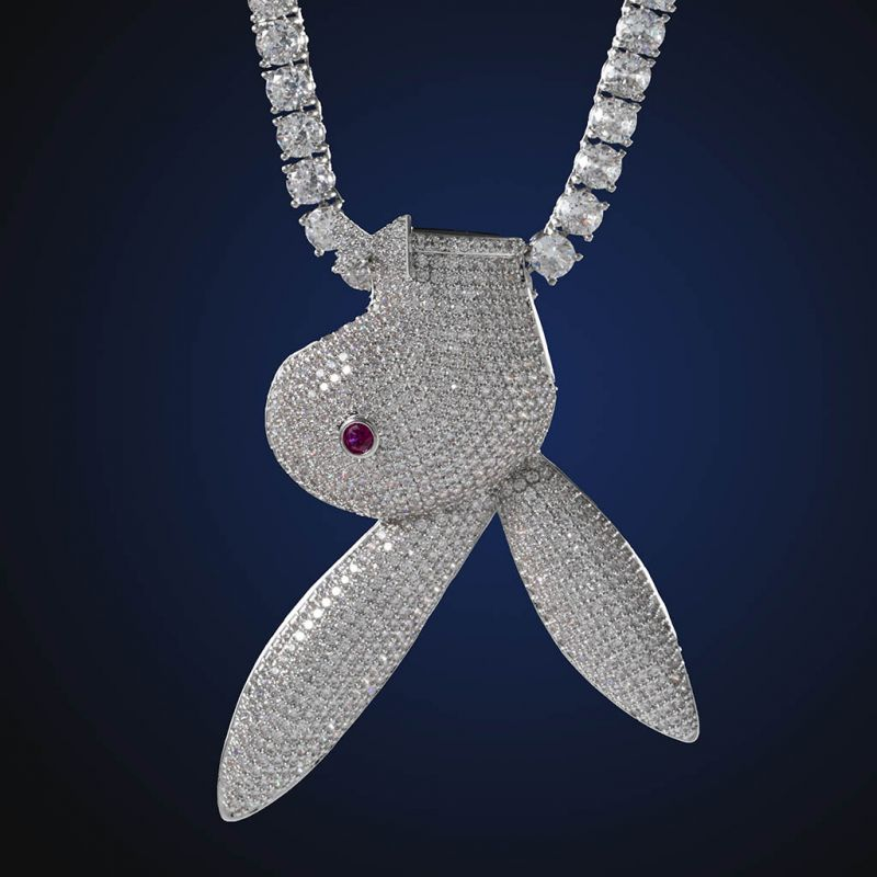 Iced Upside Down Bunny Head Pendant in White Gold