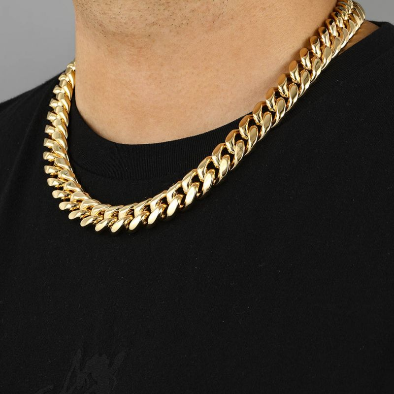 18mm Stainless Steel Miami Cuban Chain in Gold