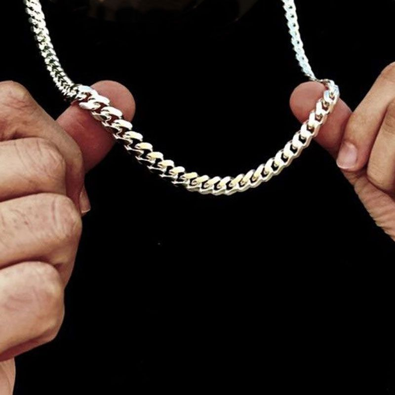 8mm 316L Stainless Steel Cuban Link Chain in White Gold