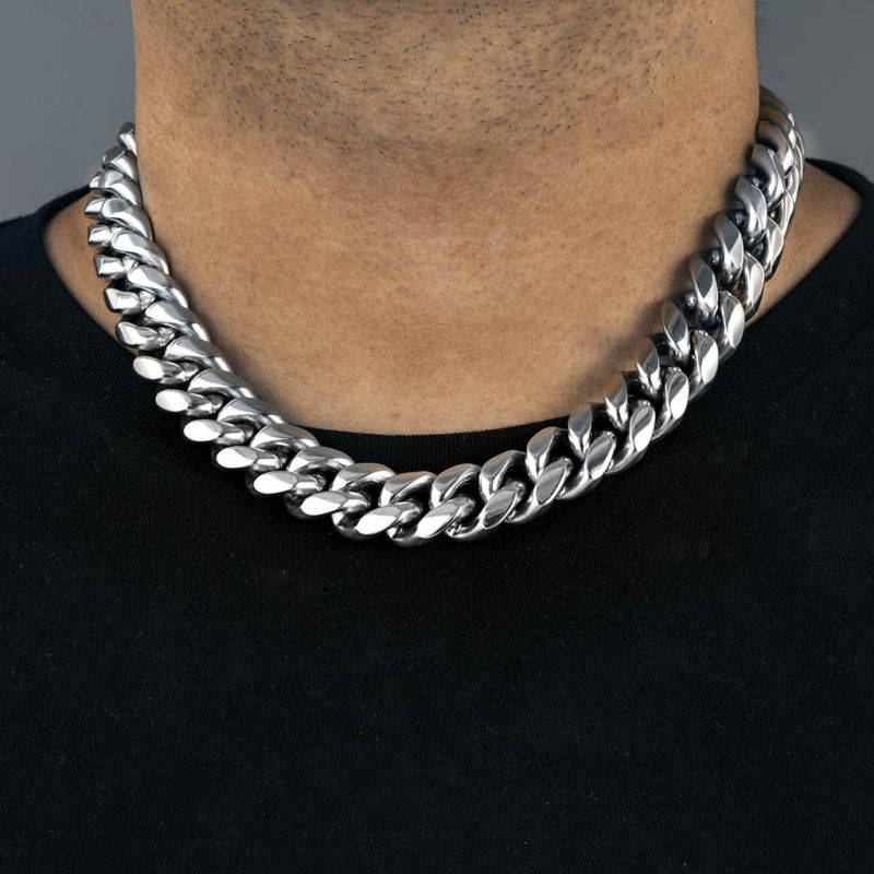18mm 316L Stainless Steel Cuban Link Chain in White Gold
