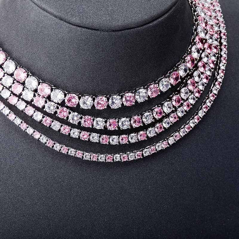 Pink and White Stones 3mm Tennis Chain in White Gold