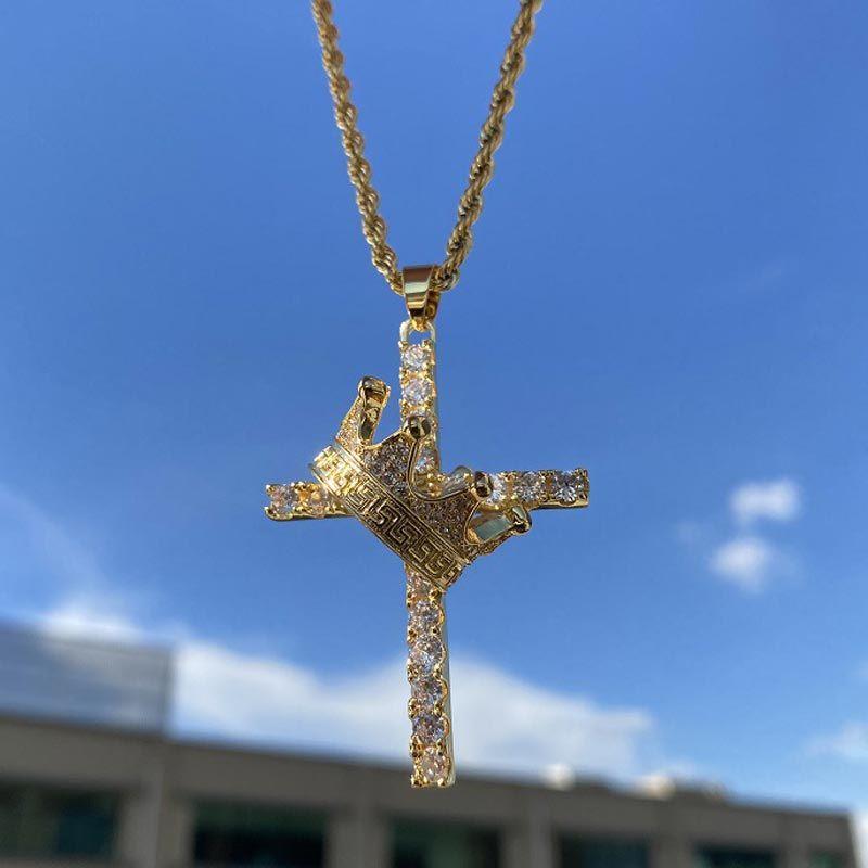 Diamond Cross King Crown Pendant in Gold