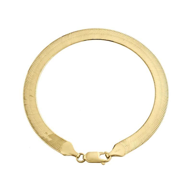 6mm Titanium Steel Herringbone Bracelet in Gold