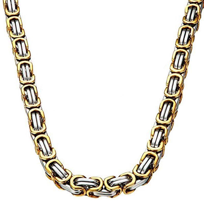 8mm Gold & Silver Titanium Steel Byzantine Chain