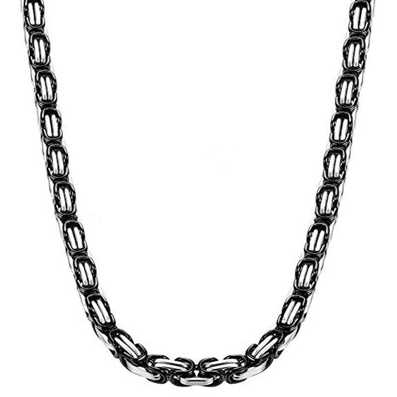 8mm Black & Silver Titanium Steel Byzantine Chain