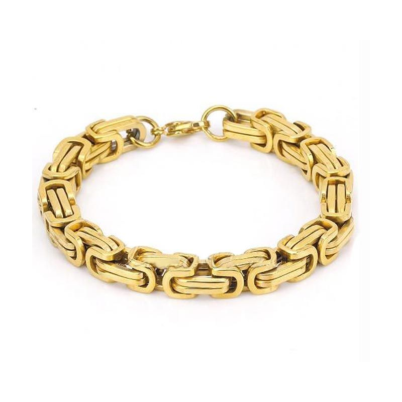 8mm Titanium Steel Byzantine Bracelet in Gold