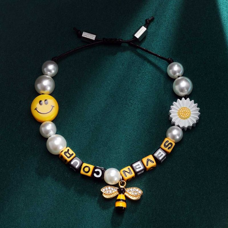 Pearl Sunflower Smile Face Bee Bracelet