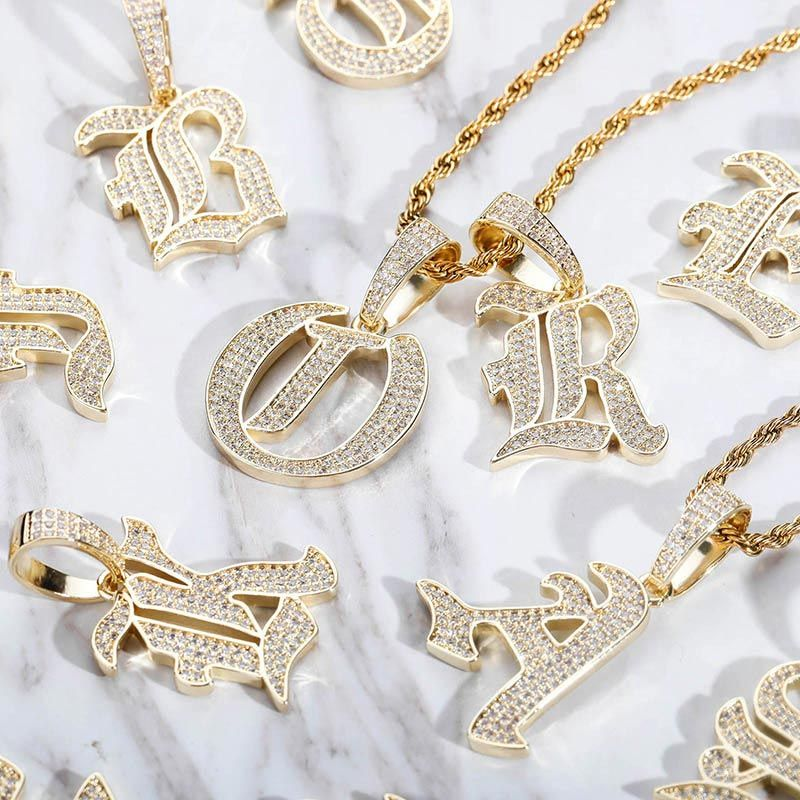 Iced Old English 26 Letters Pendant