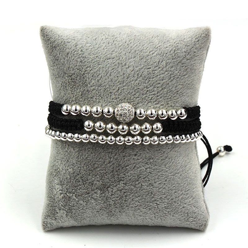 3Pcs Braid Rope Silver Copper Beads Bracelet