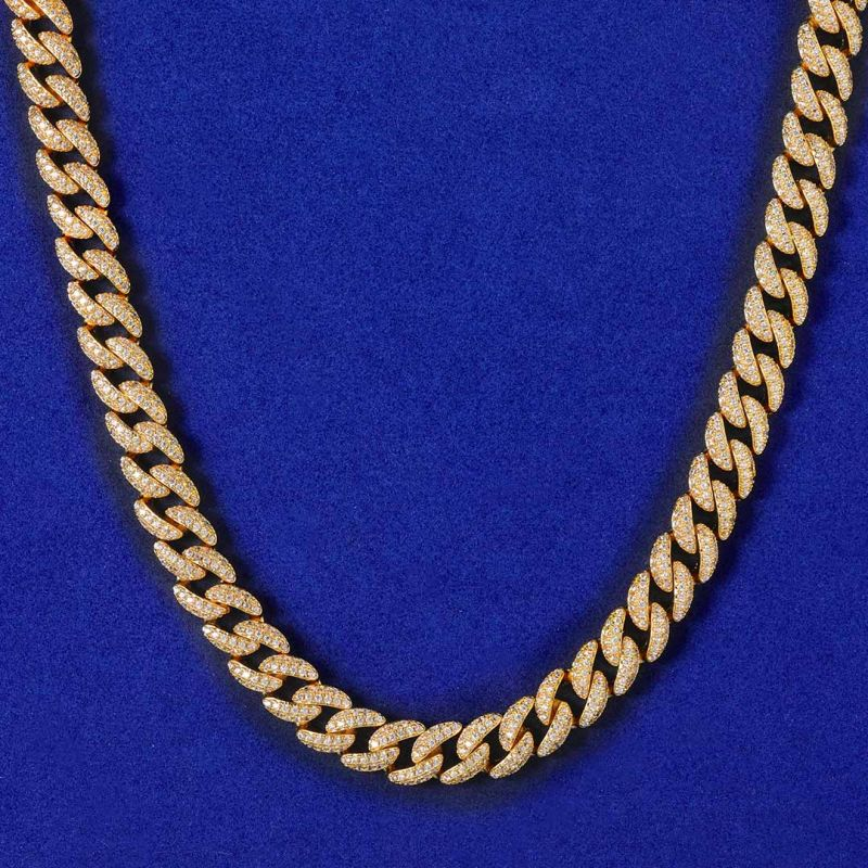 8mm Micro Paved Cuban Chain in Gold