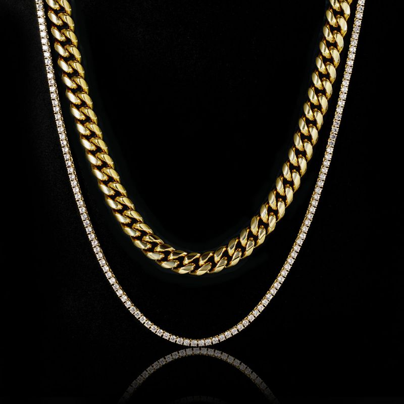 3mm Tennis Chain + 8mm Stainless Steel Cuban Chain Set in Gold