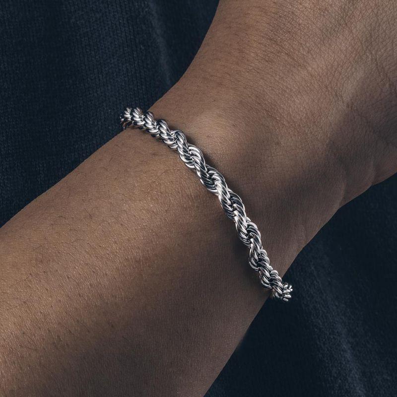 5mm Rope Bracelet in White Gold