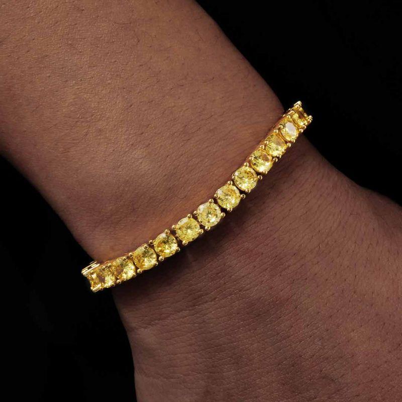 5mm Fancy Yellow Stones Tennis Bracelet in Gold