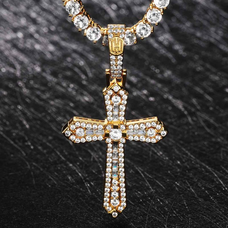 Baguette & Round Stones Cross Pendant in Gold