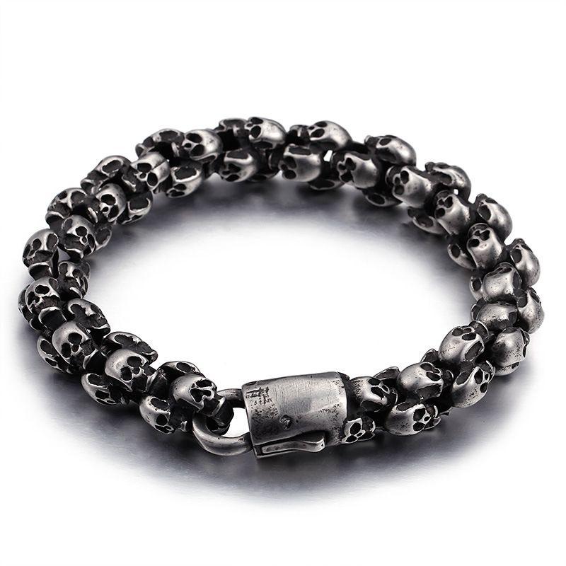 Vintage Black Titanium Steel Clustered Skull Bracelet