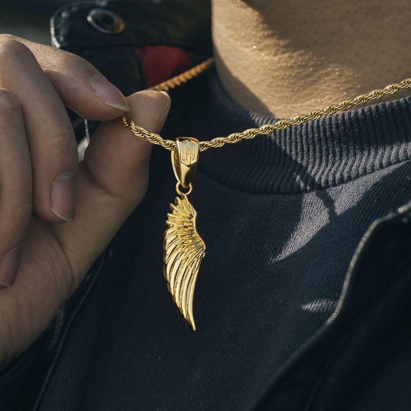 Medium Angel Wing Pendant in Gold