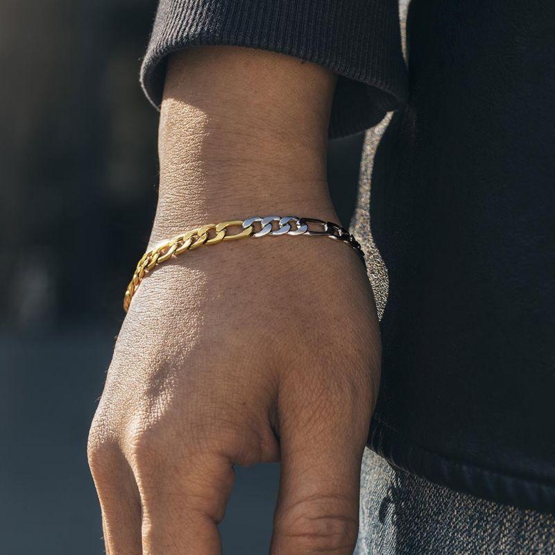 5mm Two-Tone Figaro Bracelet