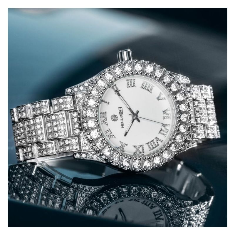 Iced Roman Numerals White Dial Men's Watch in White Gold