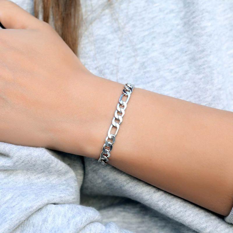 Women's 5mm Figaro Bracelet in White Gold