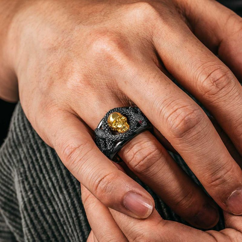 Double Snake with Skull Ring in Black Gold