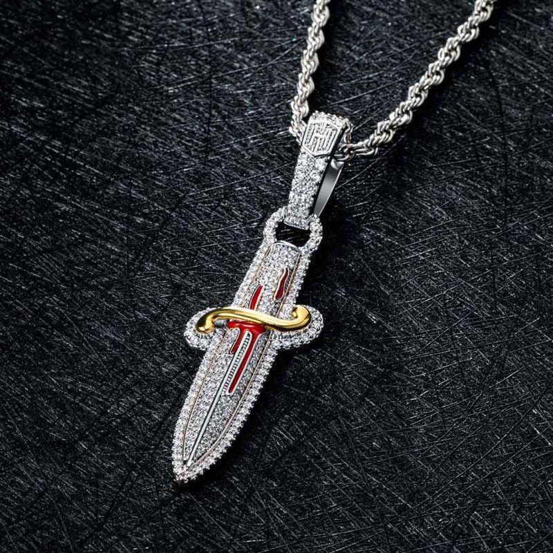 Iced Two Tone Sword Pendant