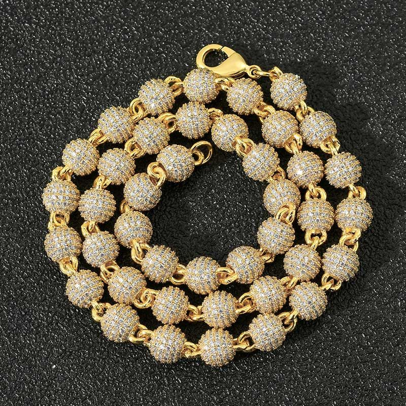 8mm Iced Beads Chain in Gold