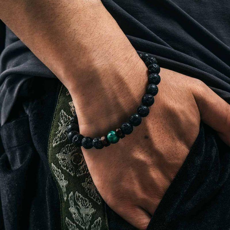 Natural Black Lava Stone with Malachite Bracelet