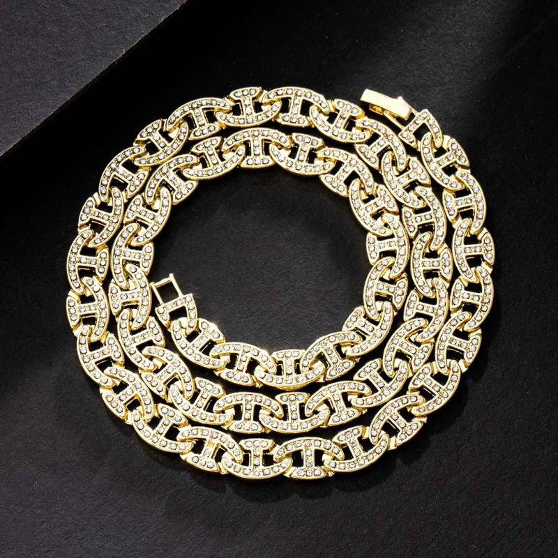 8mm Iced G-link Chain in Gold