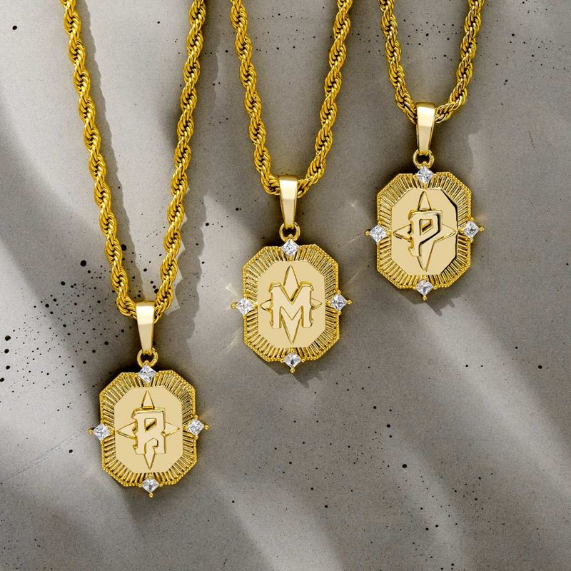 Iced Gold A-Z Initial Letter Pendant
