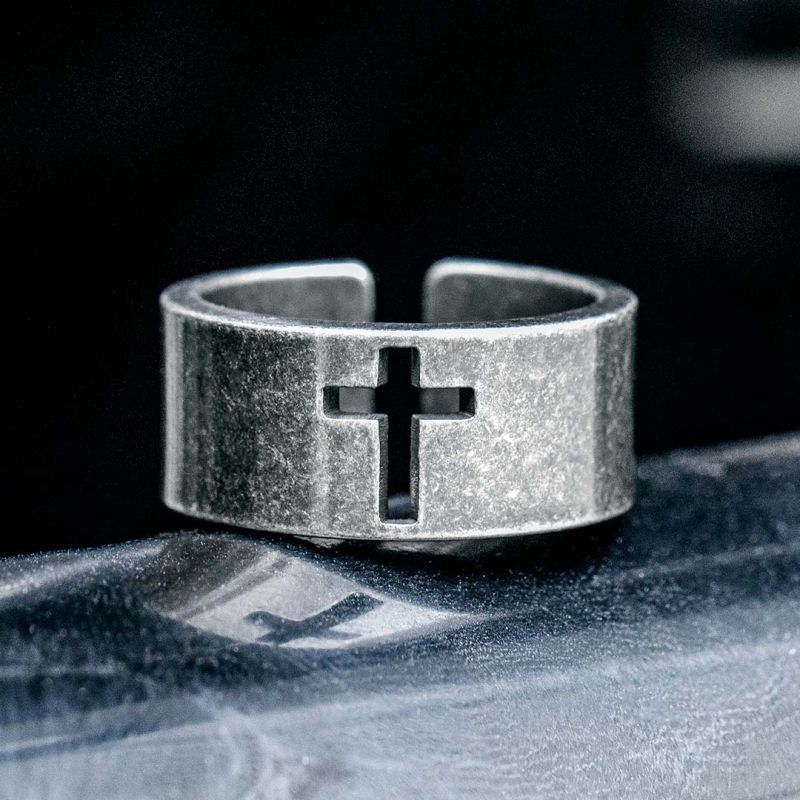 Hollow Cross Stainless Steel  Ring