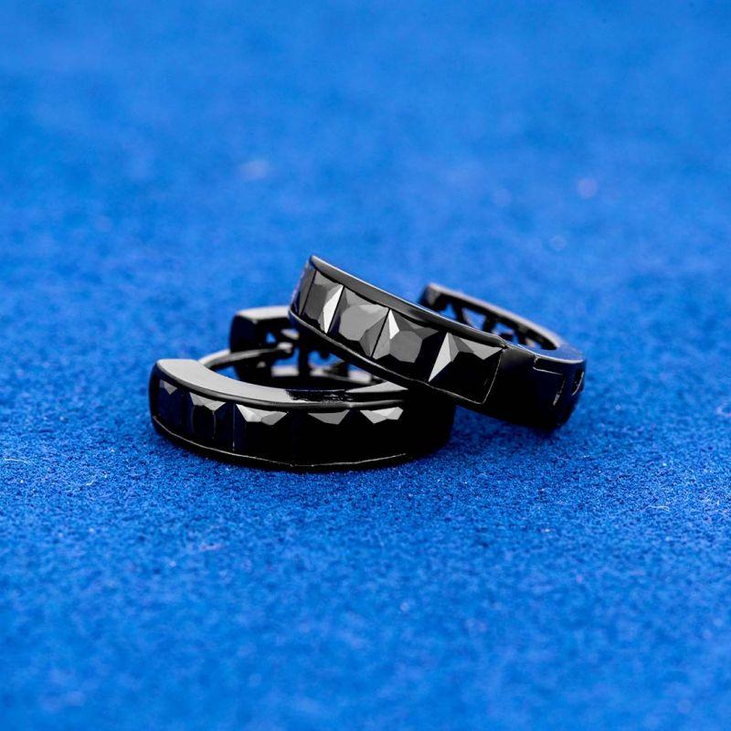 Square Shape Black Stones Hoop Earrings