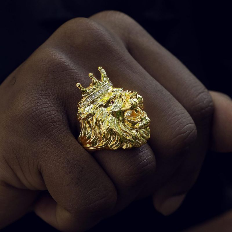 King Crown Lion Ring in Gold