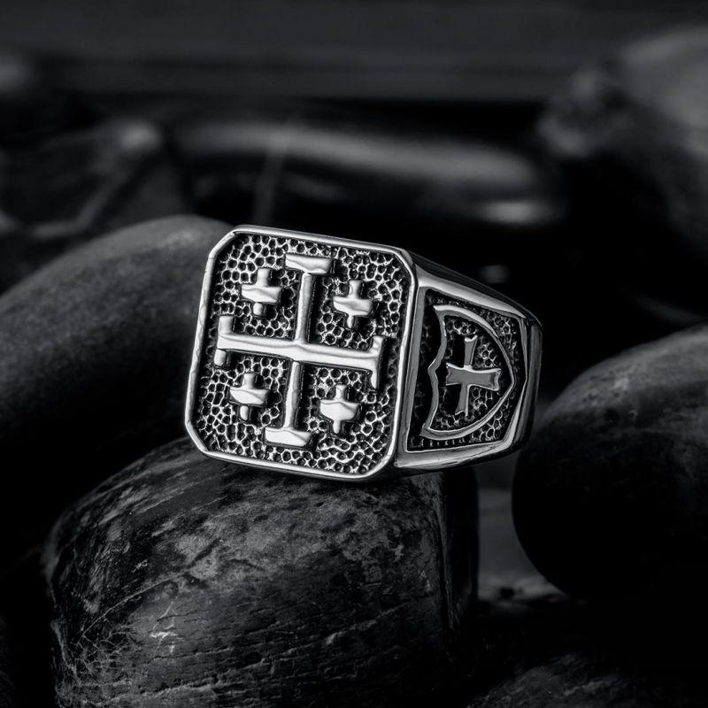 Jerusalem Cross Stainless Steel Ring