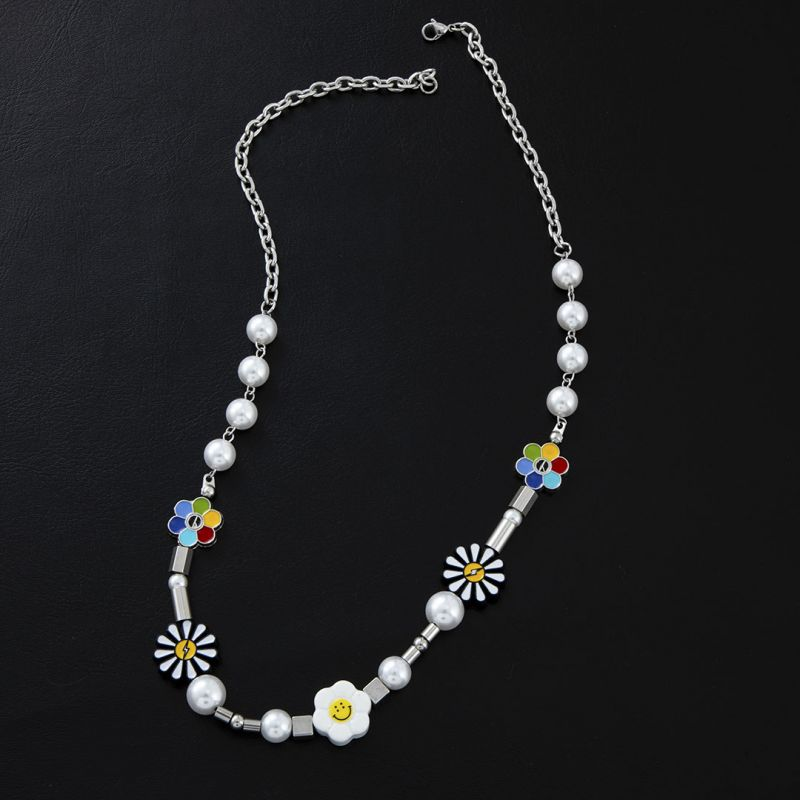 Daisy Smile Face Pearl Necklace