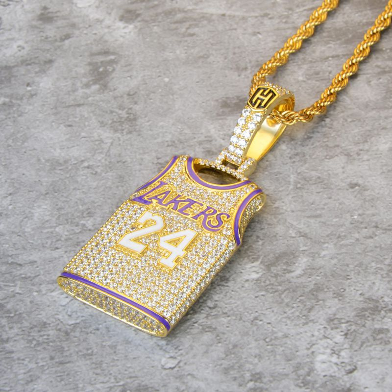 Helloice Iced 24 Jersey Pendant in Gold