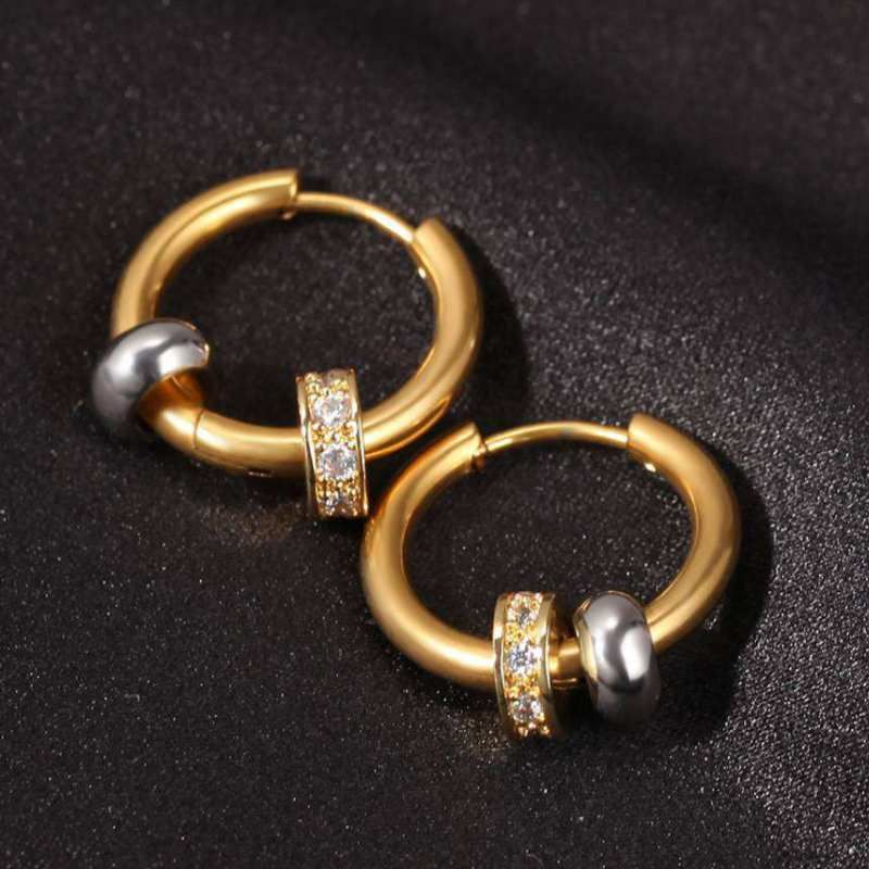 Helloice Men's Charm Beads Hoop Earrings in Gold
