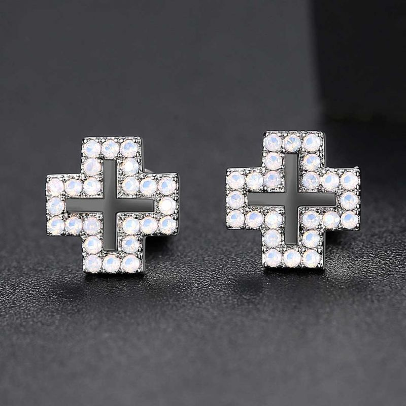 Iced Halo Cross Stud Earrings