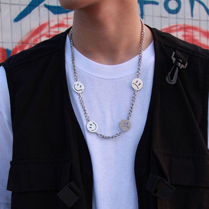 Helloice Smile Face Titanium Steel Cuban Necklace