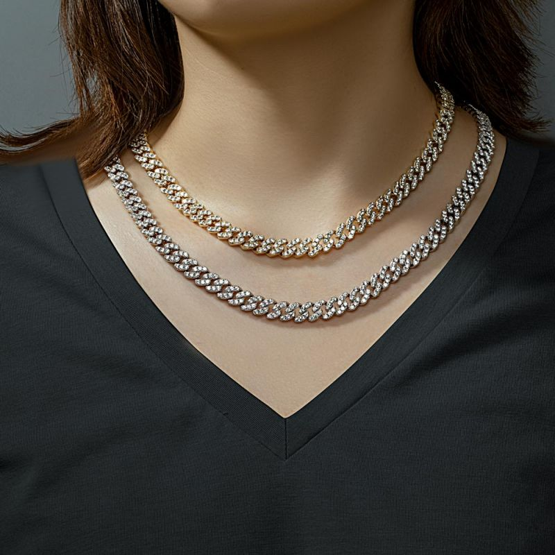 Helloice Women's 8mm Iced Cuban Chain in White Gold