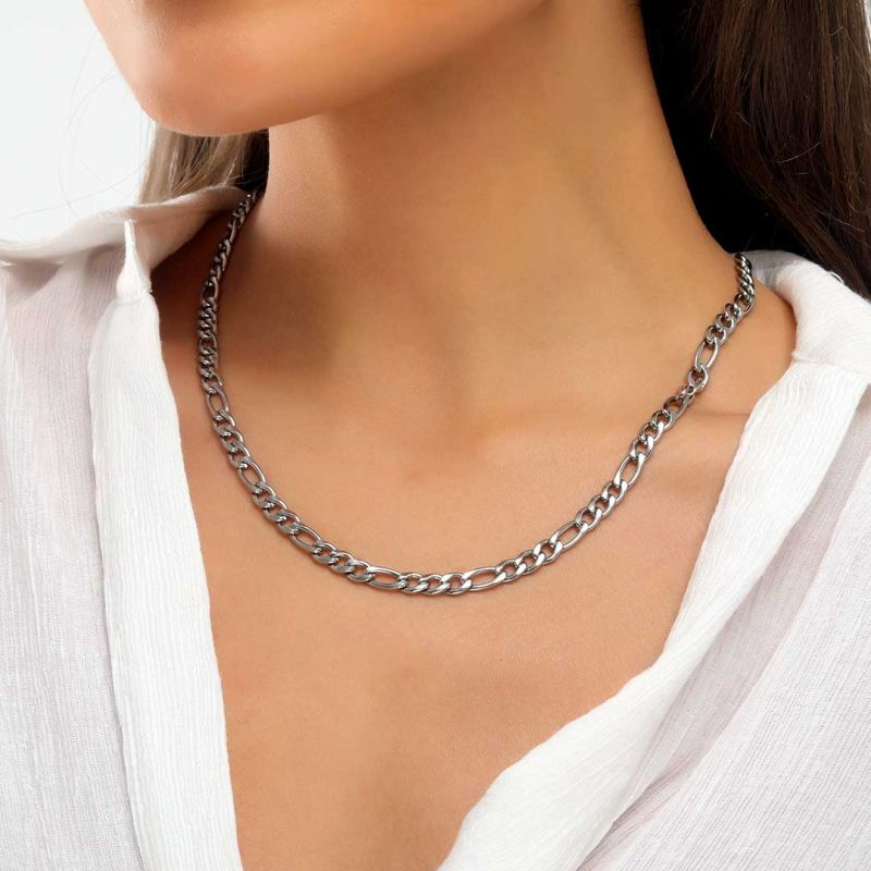 Helloice Women's 5mm Stainless Steel Figaro Chain