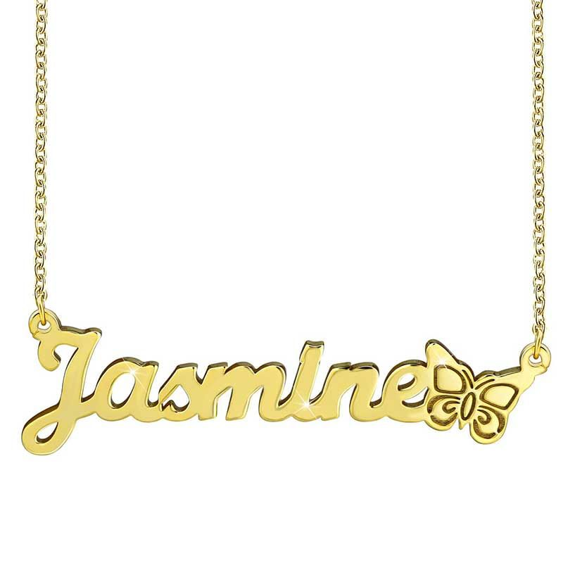 Helloice Personalized Butterfly Name Necklace